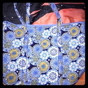 Handbags - Large Blue Floral Tote Bag